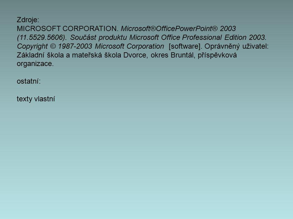 Zdroje: MICROSOFT CORPORATION. Microsoft®OfficePowerPoint® 2003 (11.5529.5606). Součást produktu Microsoft Office Professional Edition 2003. Copyright