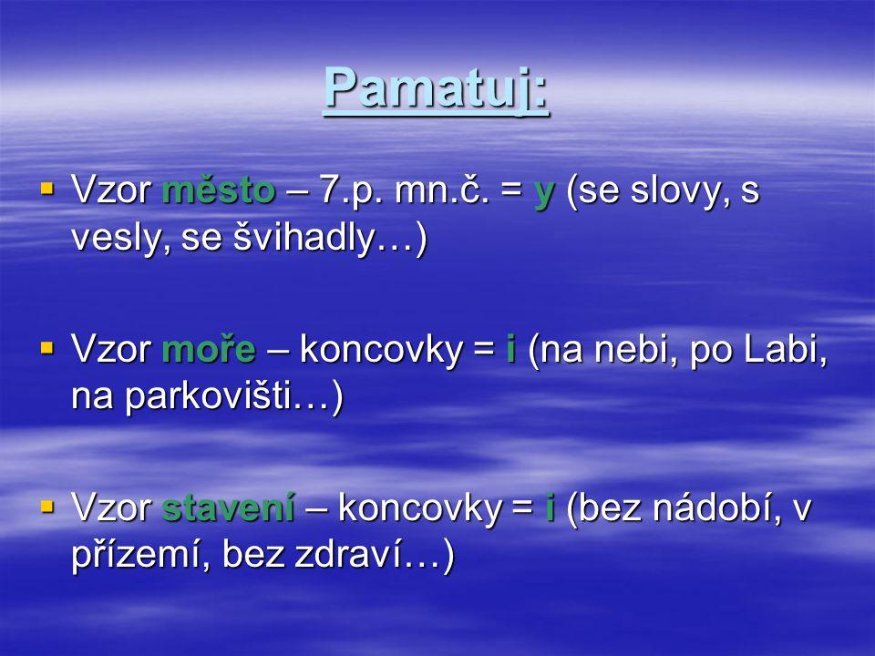 Pamatuj:  Vzor město – 7.p. mn.č. = y (se slovy, s vesly, se švihadly…)  Vzor moře – koncovky = i (na nebi, po Labi, na parkovišti…)  Vzor stavení