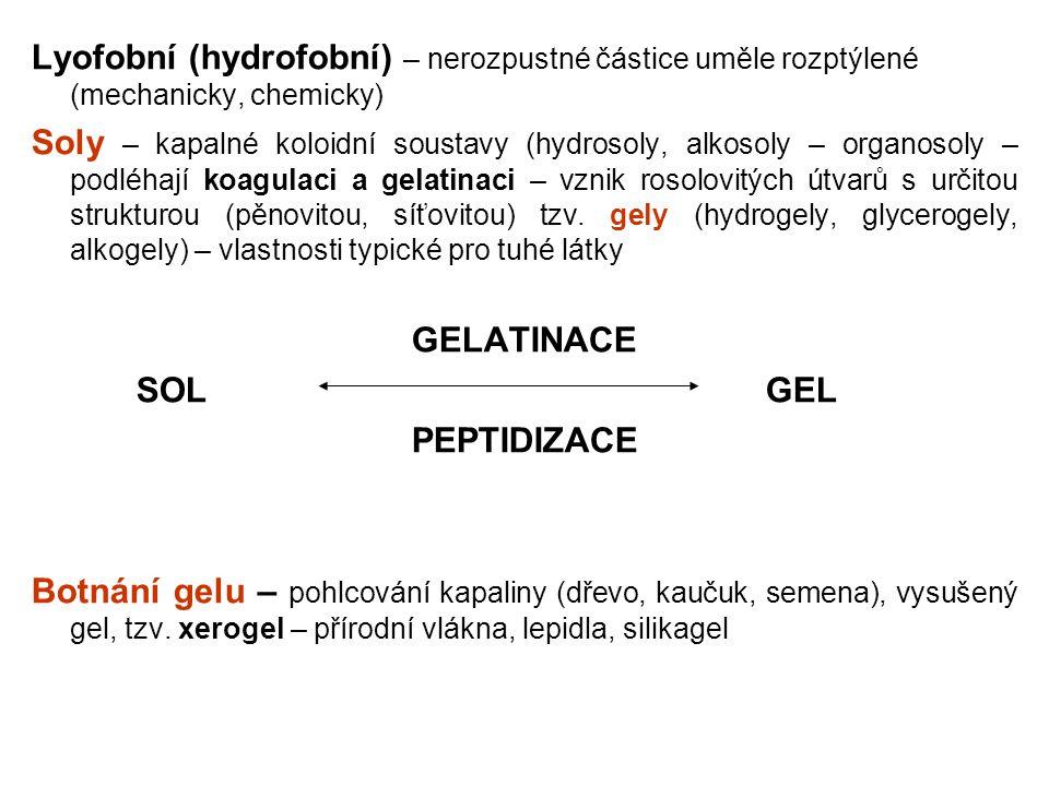 Lyofobní (hydrofobní) – nerozpustné částice uměle rozptýlené (mechanicky, chemicky) Soly – kapalné koloidní soustavy (hydrosoly, alkosoly – organosoly
