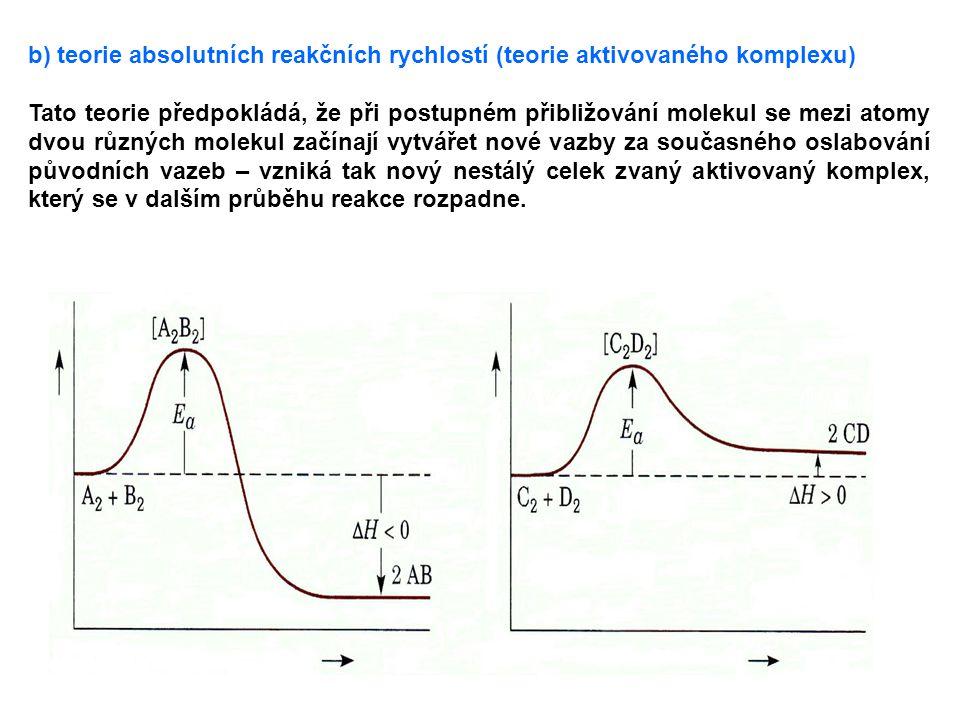 b) teorie absolutních reakčních rychlostí (teorie aktivovaného komplexu) Tato teorie předpokládá, že při postupném přibližování molekul se mezi atomy