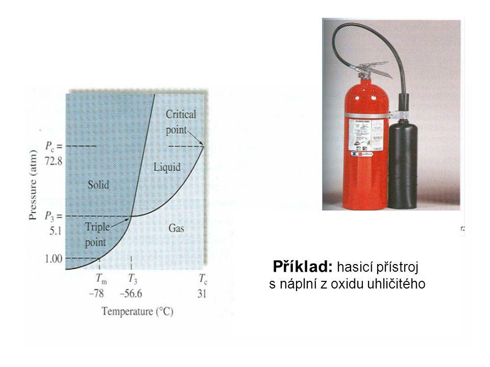 Příklad: hasicí přístroj s nápní z oxidu uhličitého Příklad: hasicí přístroj s náplní z oxidu uhličitého