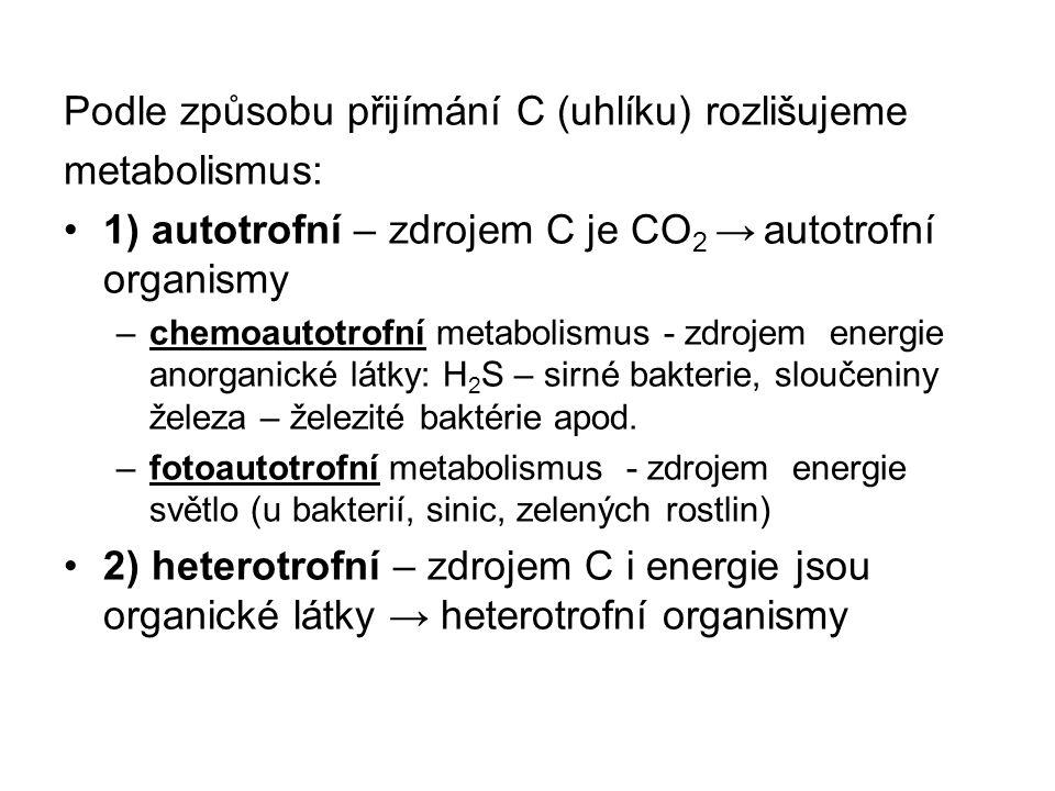 Podle způsobu přijímání C (uhlíku) rozlišujeme metabolismus: 1) autotrofní – zdrojem C je CO 2 → autotrofní organismy –chemoautotrofní metabolismus - zdrojem energie anorganické látky: H 2 S – sirné bakterie, sloučeniny železa – železité baktérie apod.