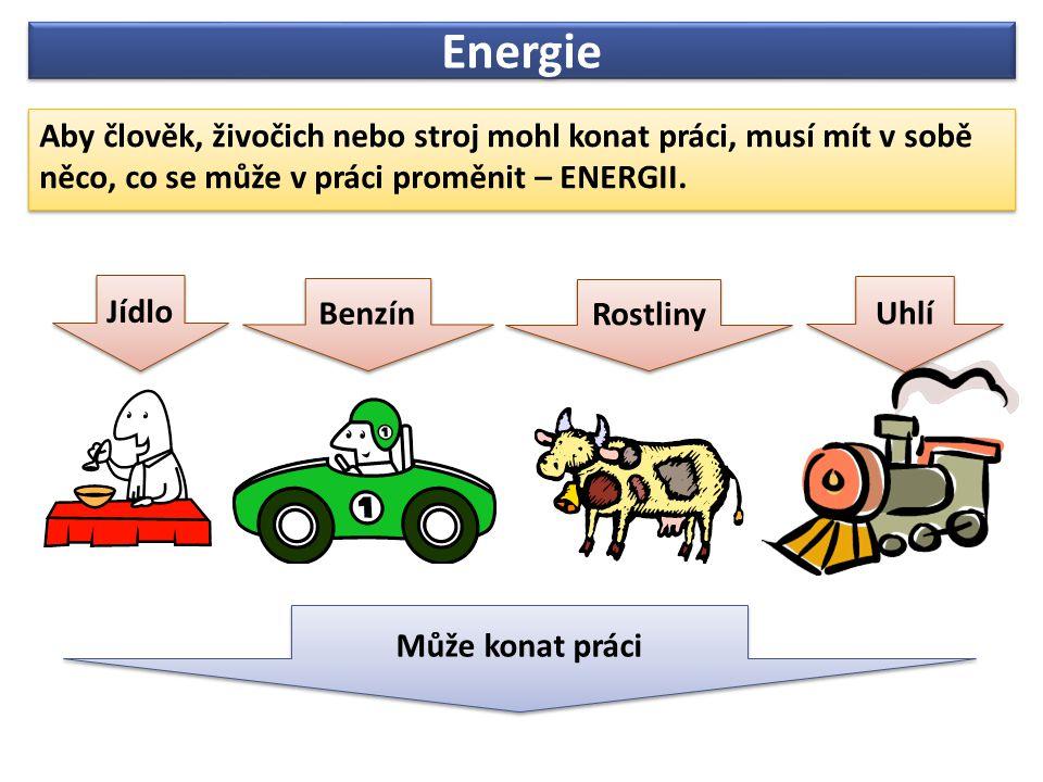 Energie Aby člověk, živočich nebo stroj mohl konat práci, musí mít v sobě něco, co se může v práci proměnit – ENERGII.