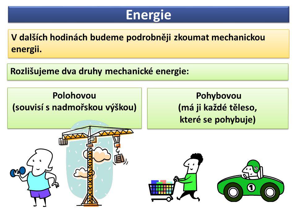 Energie V dalších hodinách budeme podrobněji zkoumat mechanickou energii.