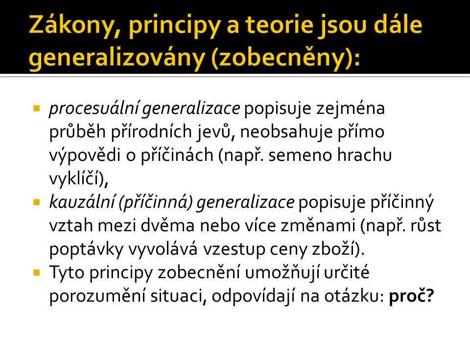  procesuální generalizace popisuje zejména průběh přírodních jevů, neobsahuje přímo výpovědi o příčinách (např.