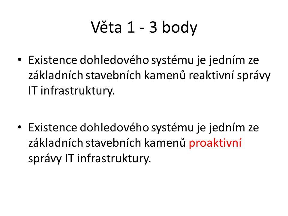 Věta 1 - 3 body Existence dohledového systému je jedním ze základních stavebních kamenů reaktivní správy IT infrastruktury.
