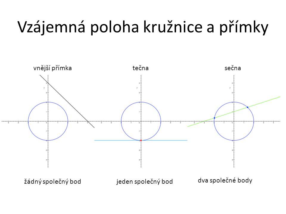 Vzájemná poloha kružnice a přímky vnější přímka tečna sečna žádný společný bodjeden společný bod dva společné body