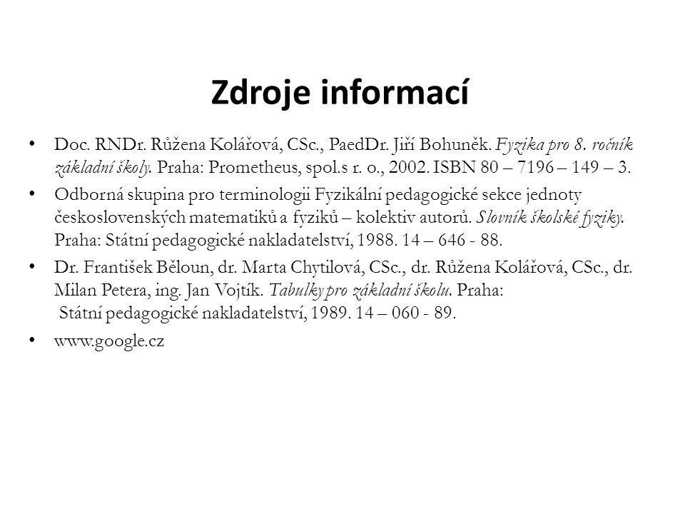 Zdroje informací Doc. RNDr. Růžena Kolářová, CSc., PaedDr. Jiří Bohuněk. Fyzika pro 8. ročník základní školy. Praha: Prometheus, spol.s r. o., 2002. I
