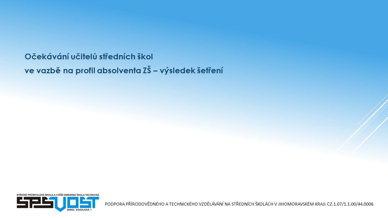 """PODPORA PŘÍRODOVĚDNÉHO A TECHNICKÉHO VZDĚLÁVÁNÍ NA STŘEDNÍCH ŠKOLÁCH V JIHOMORAVSKÉM KRAJI CZ.1.07/1.1.00/44.0006 Výsledek šetření – očekávané znalosti a dovednosti:  Čtení, psaní, počítání  Základní znalosti ve """"stěžejních oborech (matematika, český jazyk, dějepis, zeměpis) a ovládat základy cizího jazyka  Základní všeobecný přehled o světě  Dovednost pracovat s textem a informacemi  Dovednost využívat moderní techniky v praxi (ICT)  Schopnost komunikovat"""