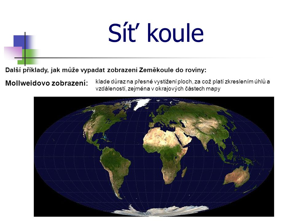 Síť koule Další příklady, jak může vypadat zobrazeni Zeměkoule do roviny: Mollweidovo zobrazení: klade důraz na přesné vystižení ploch, za což platí zkreslením úhlů a vzdáleností, zejména v okrajových částech mapy
