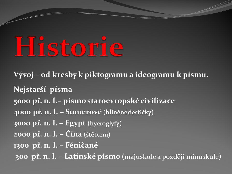 Vývoj – od kresby k piktogramu a ideogramu k písmu. Nejstarší písma 5000 př. n. l.– písmo staroevropské civilizace 4000 př. n. l. – Sumerové (hliněné