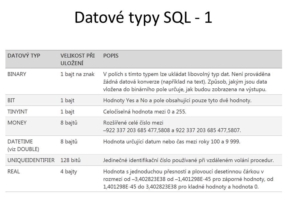 Datové typy SQL - 1