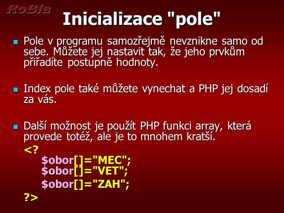 Inicializace pole pomocí funkce array <.