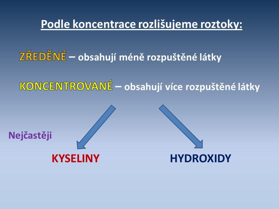 Podle koncentrace rozlišujeme roztoky: KYSELINY HYDROXIDY Nejčastěji
