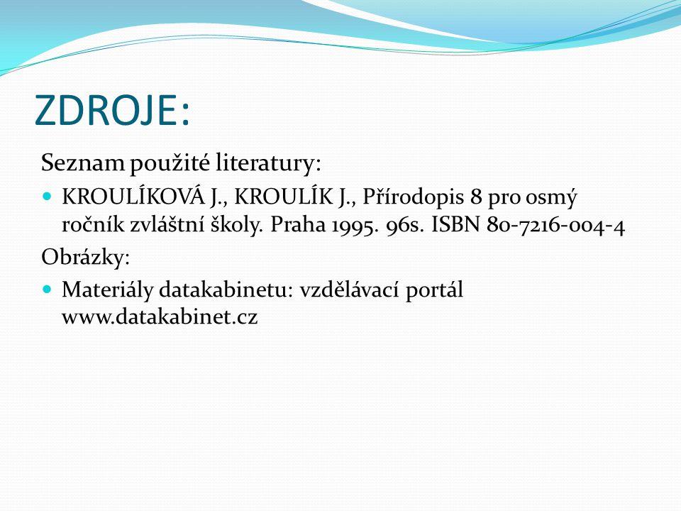 ZDROJE: Seznam použité literatury: KROULÍKOVÁ J., KROULÍK J., Přírodopis 8 pro osmý ročník zvláštní školy.