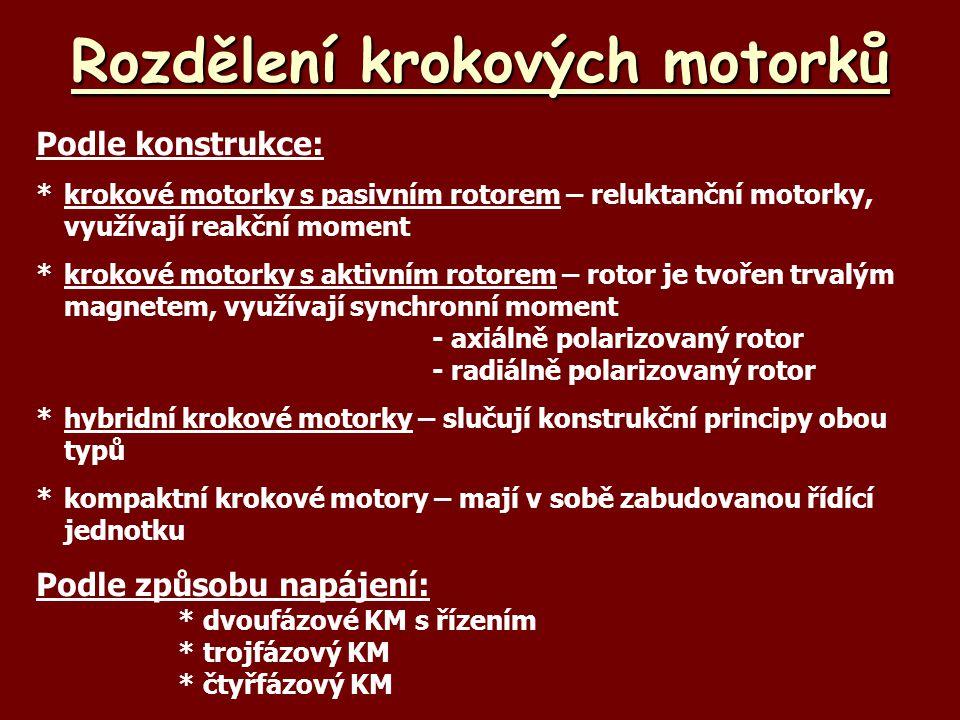 Rozdělení krokových motorků Podle konstrukce: *krokové motorky s pasivním rotorem – reluktanční motorky, využívají reakční moment *krokové motorky s a