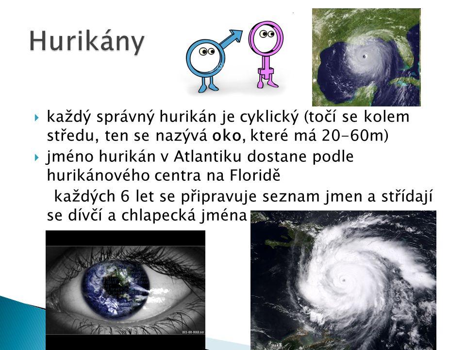  každý správný hurikán je cyklický (točí se kolem středu, ten se nazývá oko, které má 20-60m)  jméno hurikán v Atlantiku dostane podle hurikánového
