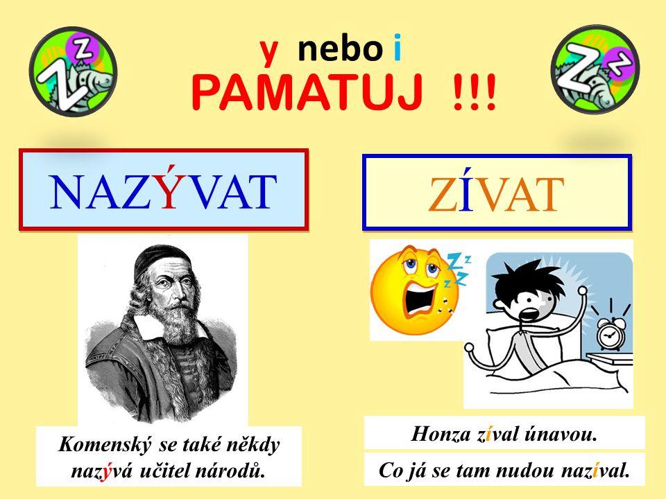 y nebo i PAMATUJ !!.NAZÝVAT Komenský se také někdy nazývá učitel národů.