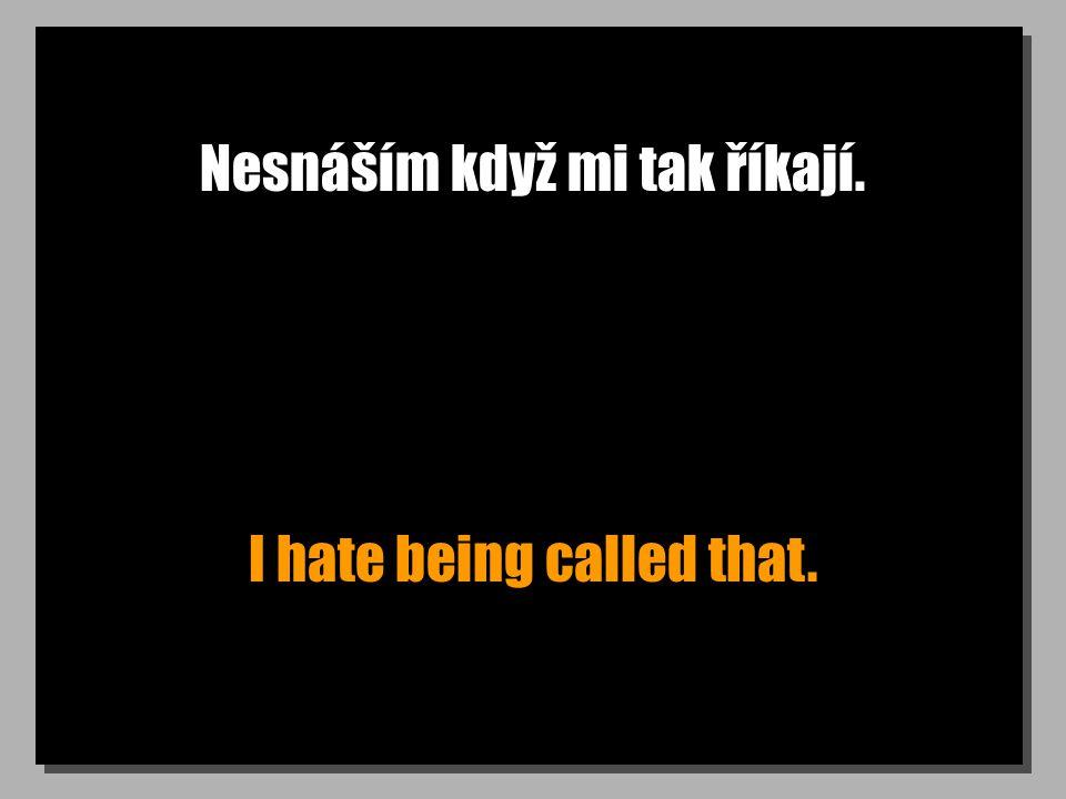 Nesnáším když mi tak říkají. I hate being called that.