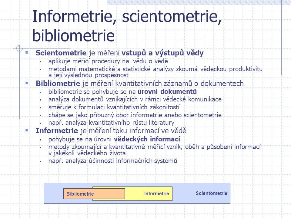 Informetrie, scientometrie, bibliometrie  Scientometrie je měření vstupů a výstupů vědy  aplikuje měřící procedury na vědu o vědě  metodami matemat