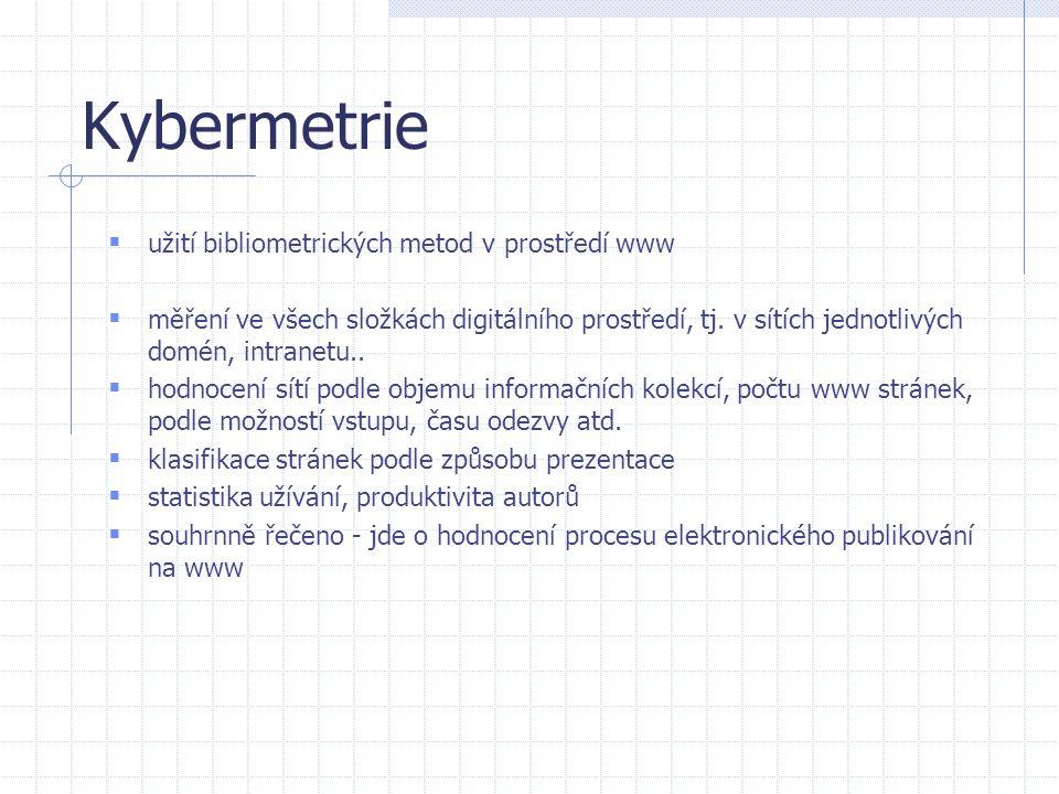 Výzkumné oblasti bibliometrie  hodnocení vědeckých výstupů – dnes nejdůležitější bibliometrická výzkumná oblast, pomocí analýzy impaktovaných časopisů a citační analýzy  výzkum citačních vazeb - jedná se o zkoumání témat, směrů, množství a vazeb pomocí metod citační analýzy (např.