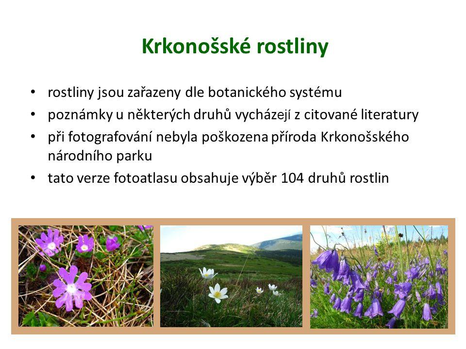 Krkonošské rostliny rostliny jsou zařazeny dle botanického systému poznámky u některých druhů vycház ejí z citované literatury při fotografování nebyla poškozena příroda Krkonošského národního parku tato verze fotoatlasu obsahuje výběr 104 druhů rostlin