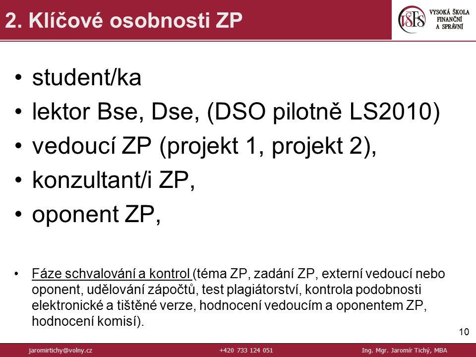 student/ka lektor Bse, Dse, (DSO pilotně LS2010) vedoucí ZP (projekt 1, projekt 2), konzultant/i ZP, oponent ZP, Fáze schvalování a kontrol (téma ZP, zadání ZP, externí vedoucí nebo oponent, udělování zápočtů, test plagiátorství, kontrola podobnosti elektronické a tištěné verze, hodnocení vedoucím a oponentem ZP, hodnocení komisí).