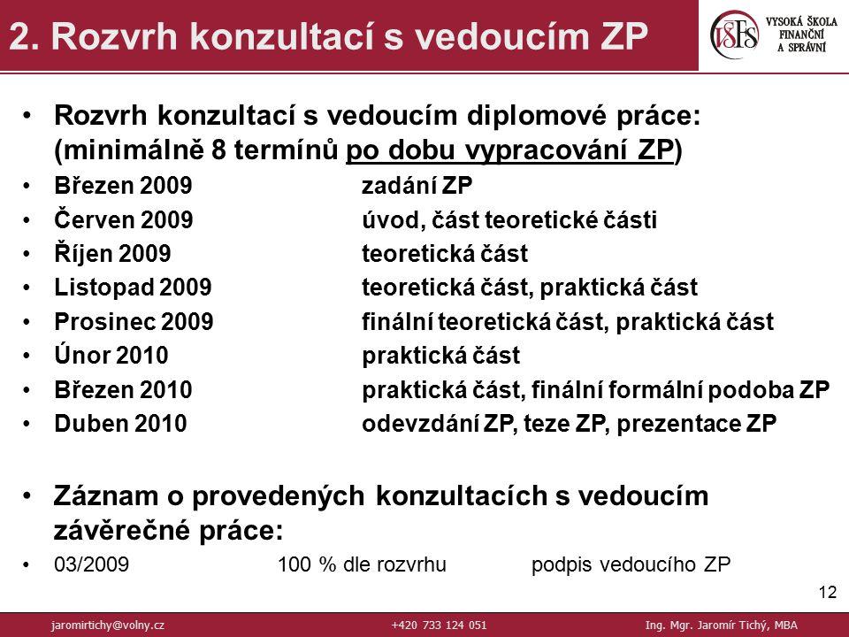 12 2.Rozvrh konzultací s vedoucím ZP jaromirtichy@volny.cz+420 733 124 051Ing.