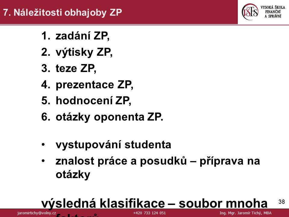 38 7.Náležitosti obhajoby ZP jaromirtichy@volny.cz+420 733 124 051Ing.