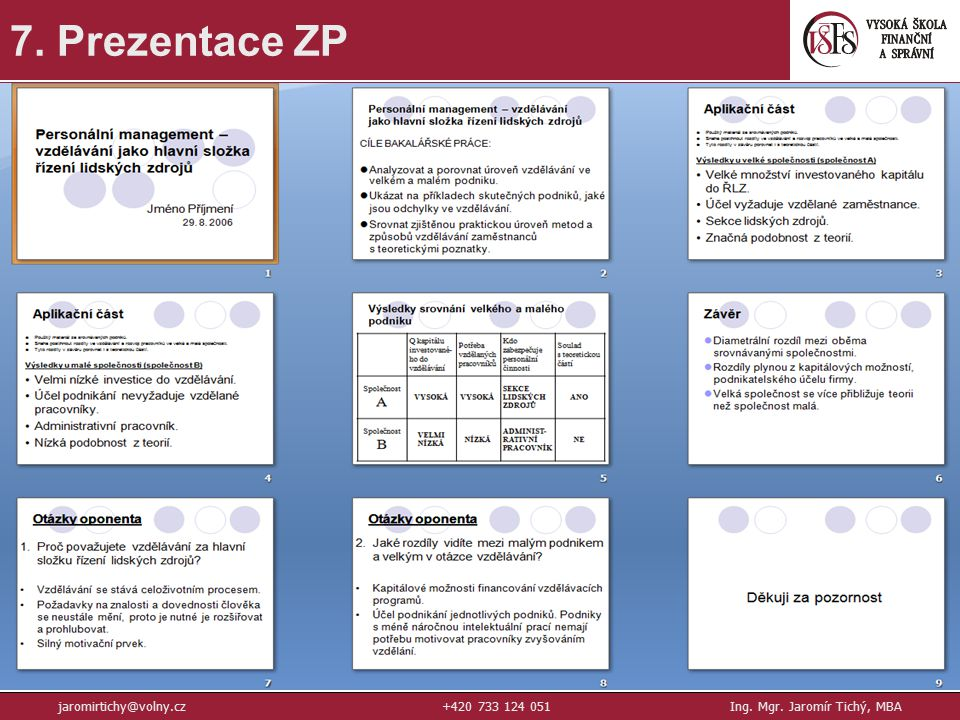 41 7. Prezentace ZP jaromirtichy@volny.cz+420 733 124 051Ing. Mgr. Jaromír Tichý, MBA