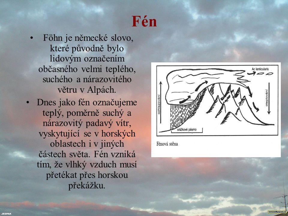 Fén Föhn je německé slovo, které původně bylo lidovým označením občasného velmi teplého, suchého a nárazovitého větru v Alpách. Dnes jako fén označuje