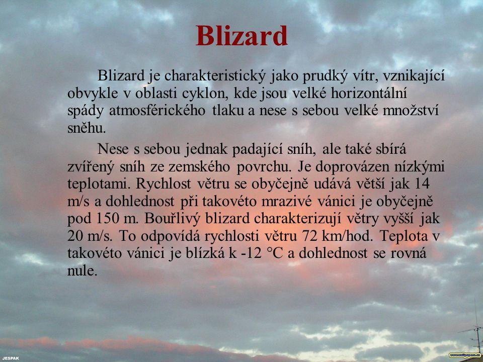 Blizard Blizard je charakteristický jako prudký vítr, vznikající obvykle v oblasti cyklon, kde jsou velké horizontální spády atmosférického tlaku a ne