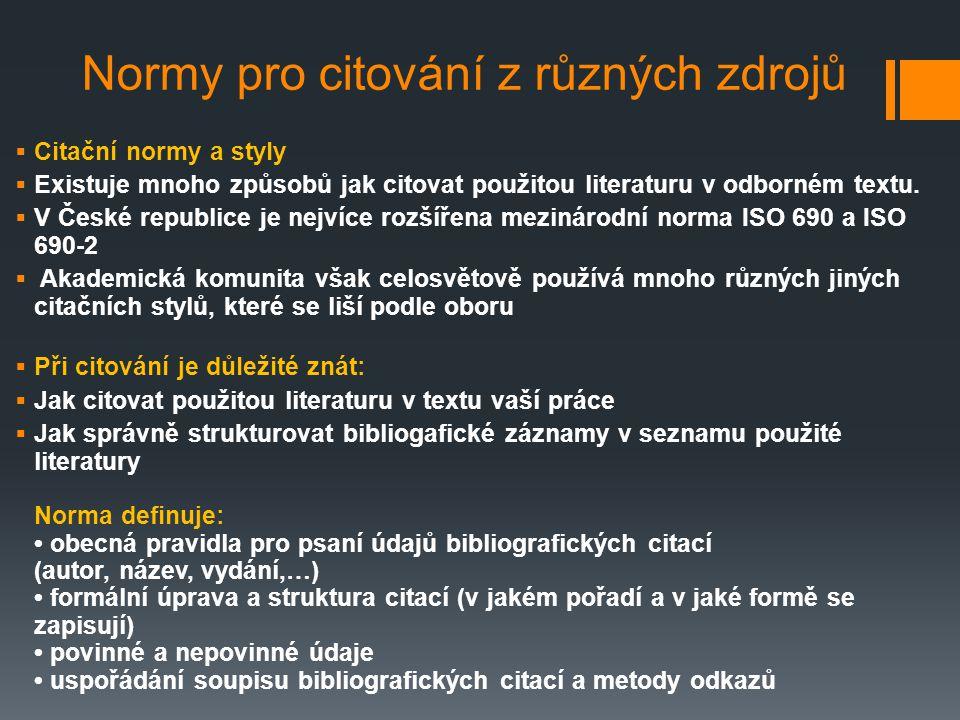 Normy pro citování z různých zdrojů  Citační normy a styly  Existuje mnoho způsobů jak citovat použitou literaturu v odborném textu.  V České repub