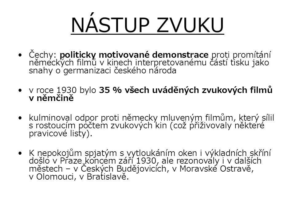 NÁSTUP ZVUKU Čechy: politicky motivované demonstrace proti promítání německých filmů v kinech interpretovanému částí tisku jako snahy o germanizaci če