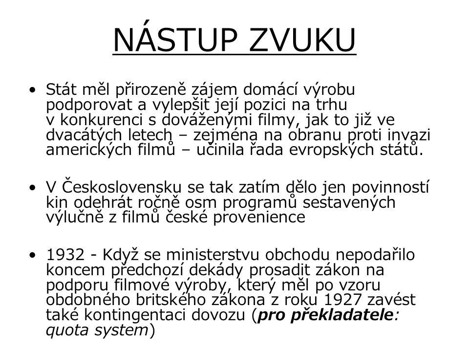 NÁSTUP ZVUKU Stát měl přirozeně zájem domácí výrobu podporovat a vylepšit její pozici na trhu v konkurenci s dováženými filmy, jak to již ve dvacátých