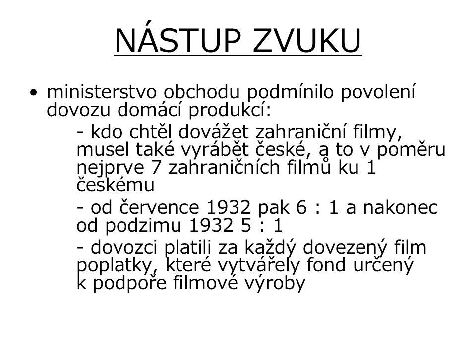 NÁSTUP ZVUKU ministerstvo obchodu podmínilo povolení dovozu domácí produkcí: - kdo chtěl dovážet zahraniční filmy, musel také vyrábět české, a to v po