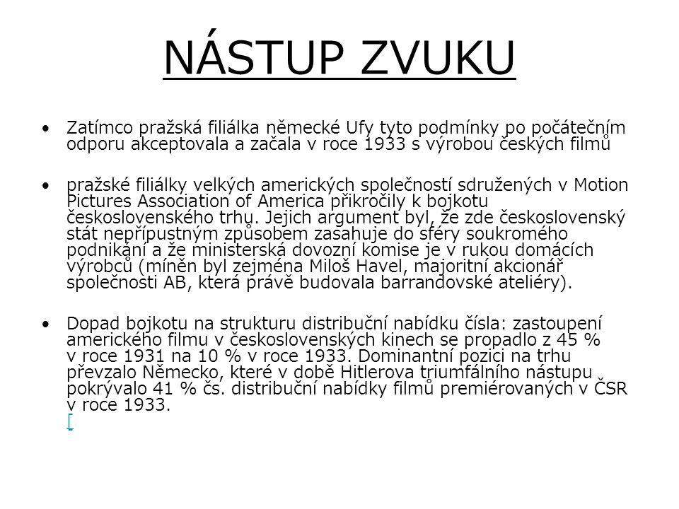 NÁSTUP ZVUKU Zatímco pražská filiálka německé Ufy tyto podmínky po počátečním odporu akceptovala a začala v roce 1933 s výrobou českých filmů pražské