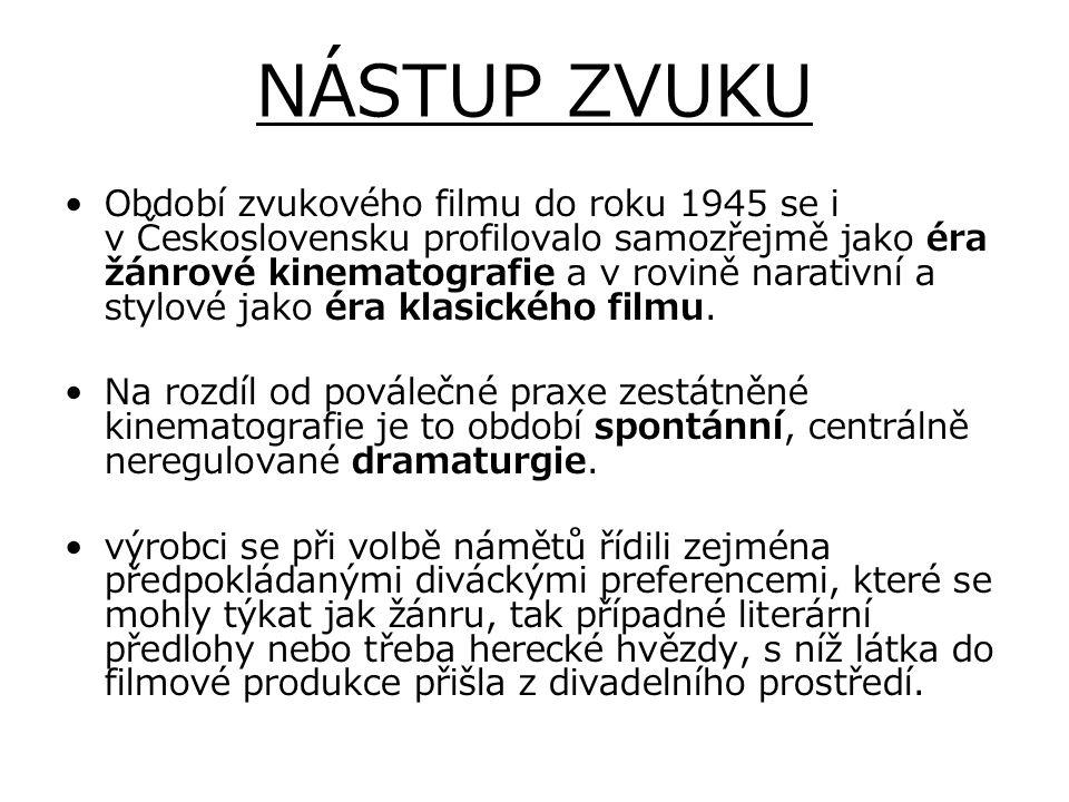 NÁSTUP ZVUKU Období zvukového filmu do roku 1945 se i v Československu profilovalo samozřejmě jako éra žánrové kinematografie a v rovině narativní a s