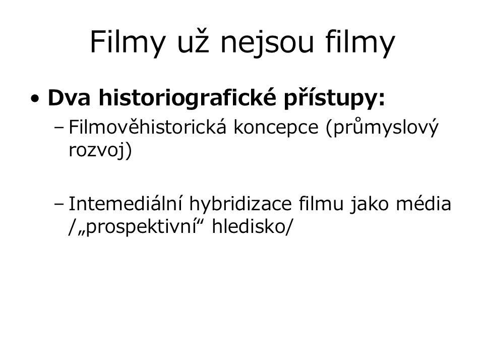 """Filmy už nejsou filmy Dva historiografické přístupy: –Filmověhistorická koncepce (průmyslový rozvoj) –Intemediální hybridizace filmu jako média /""""pros"""