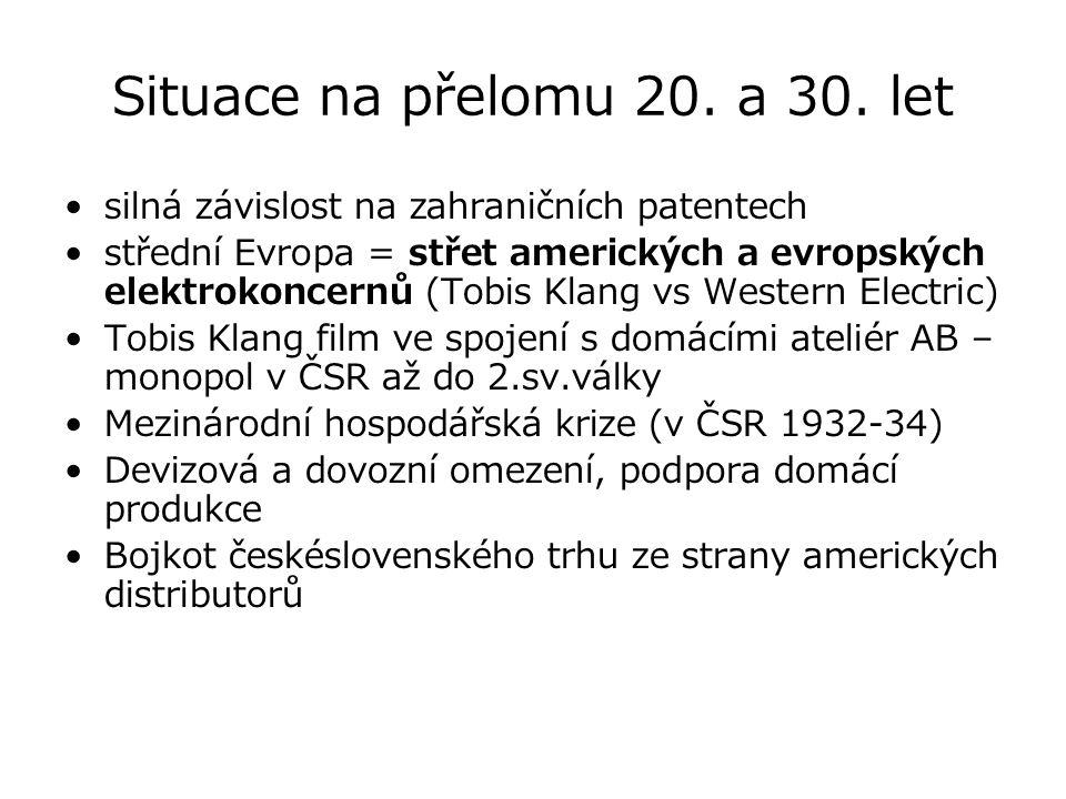 Situace na přelomu 20. a 30. let silná závislost na zahraničních patentech střední Evropa = střet amerických a evropských elektrokoncernů (Tobis Klang
