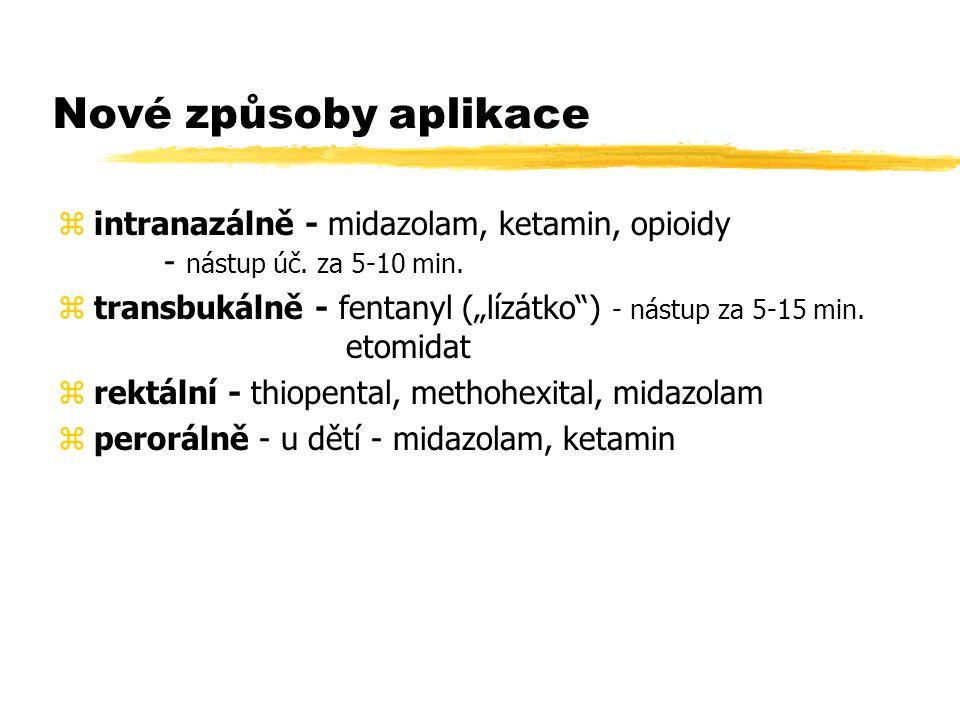 Nové způsoby aplikace zintranazálně - midazolam, ketamin, opioidy - nástup úč.