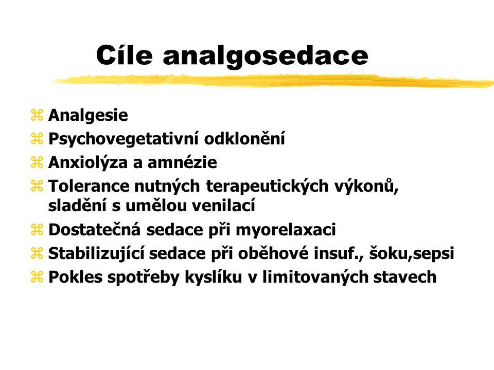 Cíle analgosedace zAnalgesie zPsychovegetativní odklonění zAnxiolýza a amnézie zTolerance nutných terapeutických výkonů, sladění s umělou venilací zDostatečná sedace při myorelaxaci zStabilizující sedace při oběhové insuf., šoku,sepsi zPokles spotřeby kyslíku v limitovaných stavech