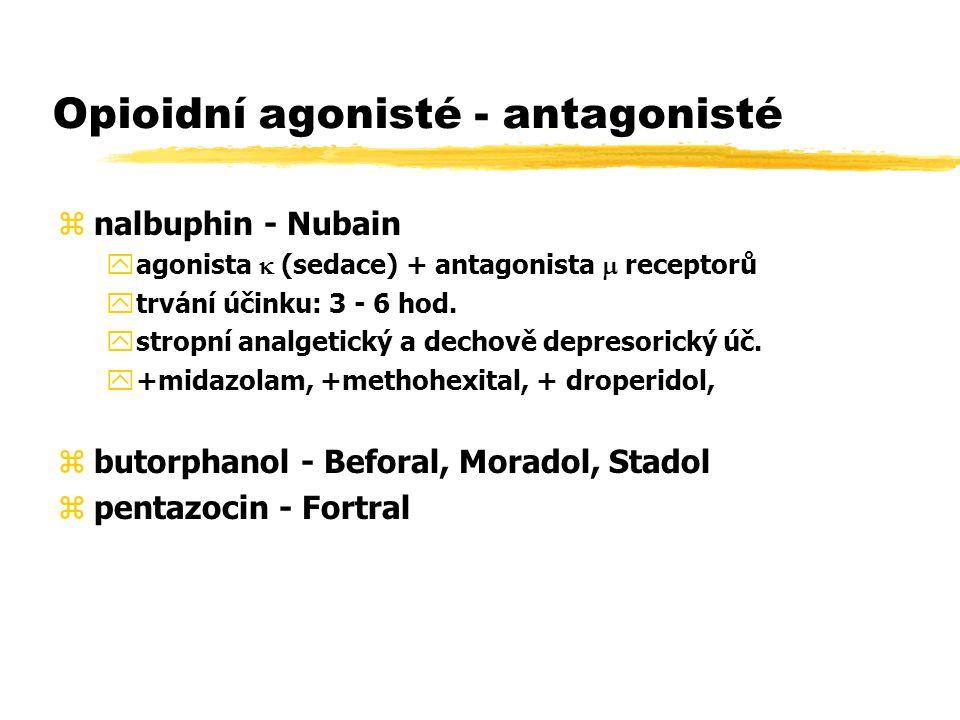 Opioidní agonisté - antagonisté znalbuphin - Nubain yagonista  (sedace) + antagonista  receptorů ytrvání účinku: 3 - 6 hod.
