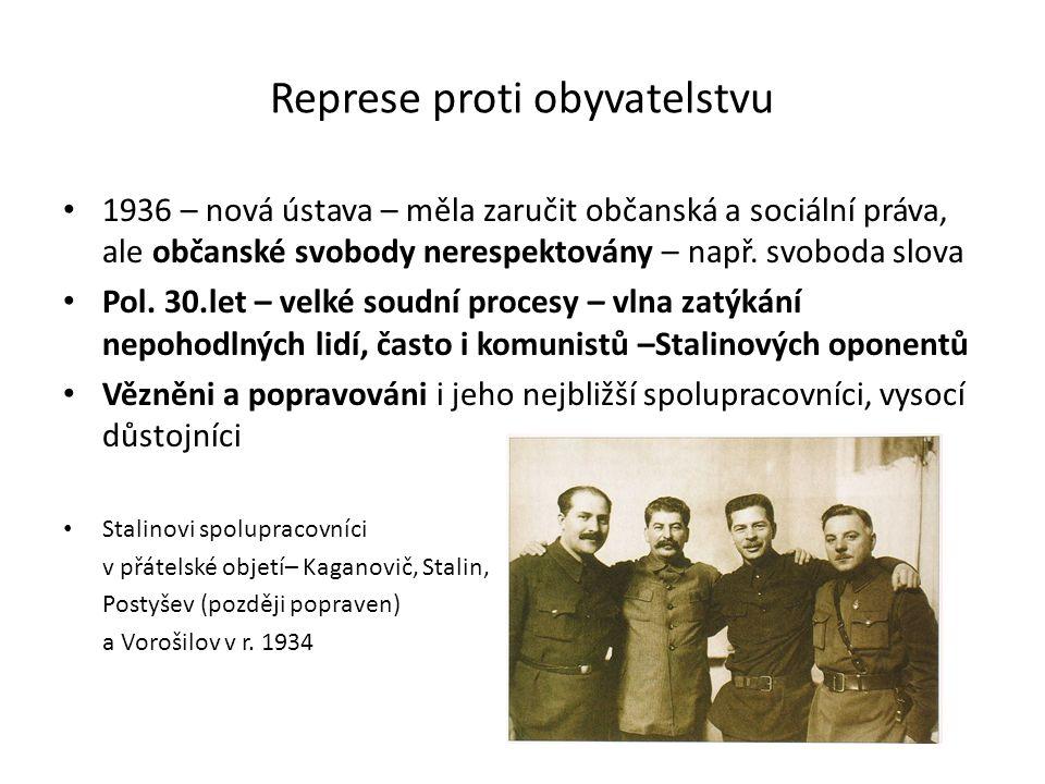 Represe proti obyvatelstvu 1936 – nová ústava – měla zaručit občanská a sociální práva, ale občanské svobody nerespektovány – např. svoboda slova Pol.