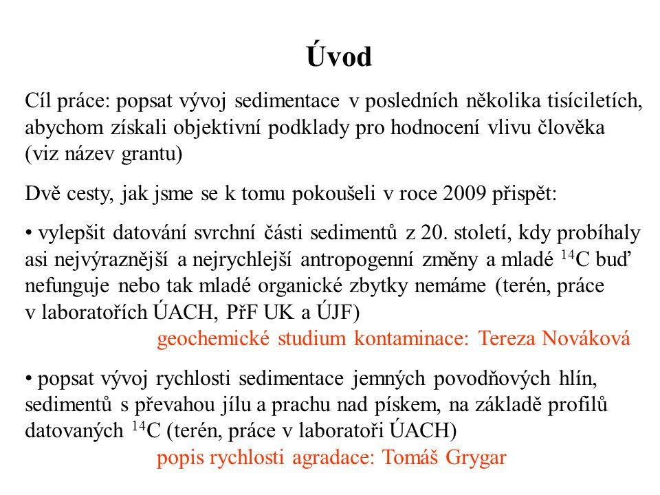 Úvod Cíl práce: popsat vývoj sedimentace v posledních několika tisíciletích, abychom získali objektivní podklady pro hodnocení vlivu člověka (viz náze