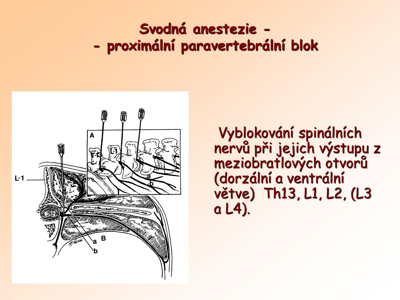 Svodná anestezie - - proximální paravertebrální blok Vyblokování spinálních nervů při jejich výstupu z meziobratlových otvorů (dorzální a ventrální vě