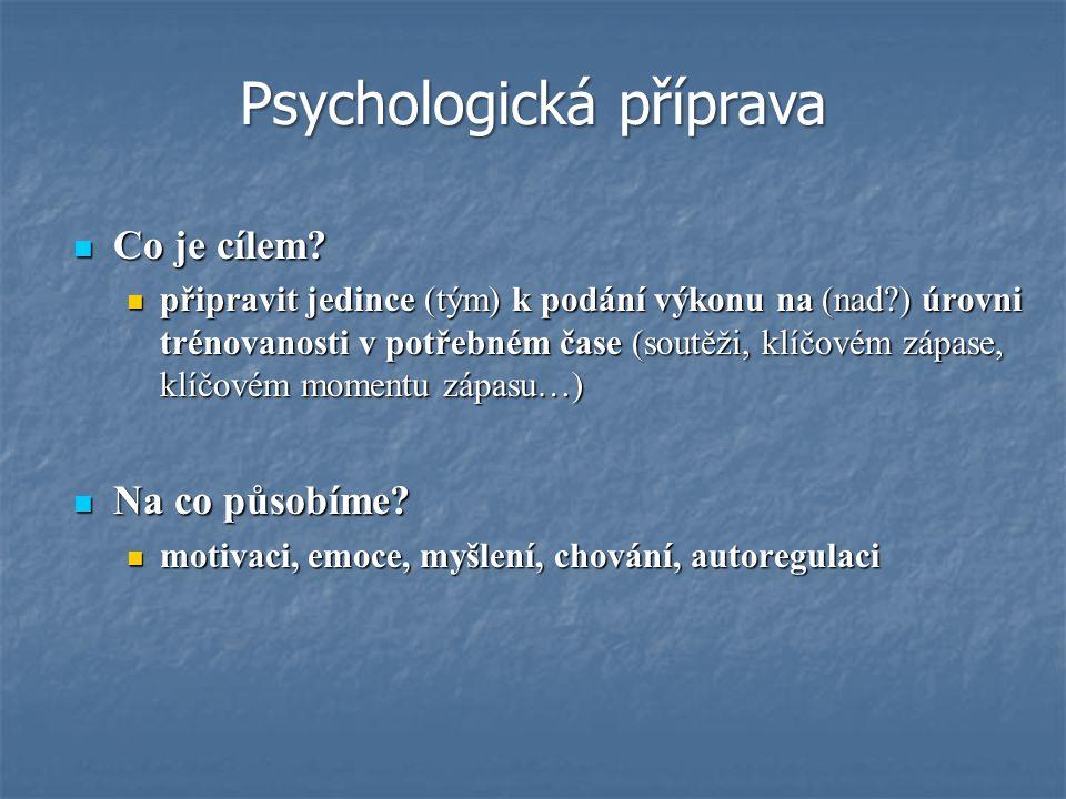 Typická témata sportovní psychologie Typická témata sportovní psychologie a) vnímání, myšlení, emoce a motivace, jejich specifika v zátěži (tréninku a soutěži) b) motorické učení c) osobnost sportovce a trenéra d) sociálně psychologické aspekty tréninku (dynamika vztahu trenér - sportovec, trenér - skupina) e) profesiografie (charakteristika sportu z hlediska nároků kladených na psychiku, výběrové pravidla, metody a požadavky, …) f) zdravotní aspekty tělesných cvičení g) psychologická příprava Zaměření sportovní psychologie