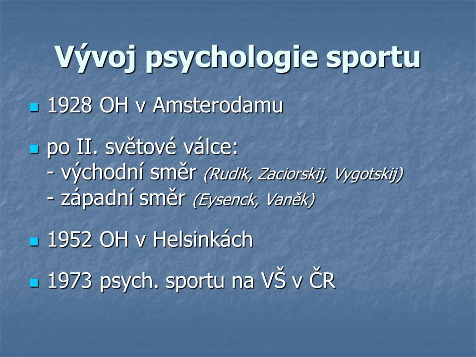 Psychologická typologie sportů (Kodým, 1970) senzoricko-koncentrační sporty šachy, golf, šipky, střelba...