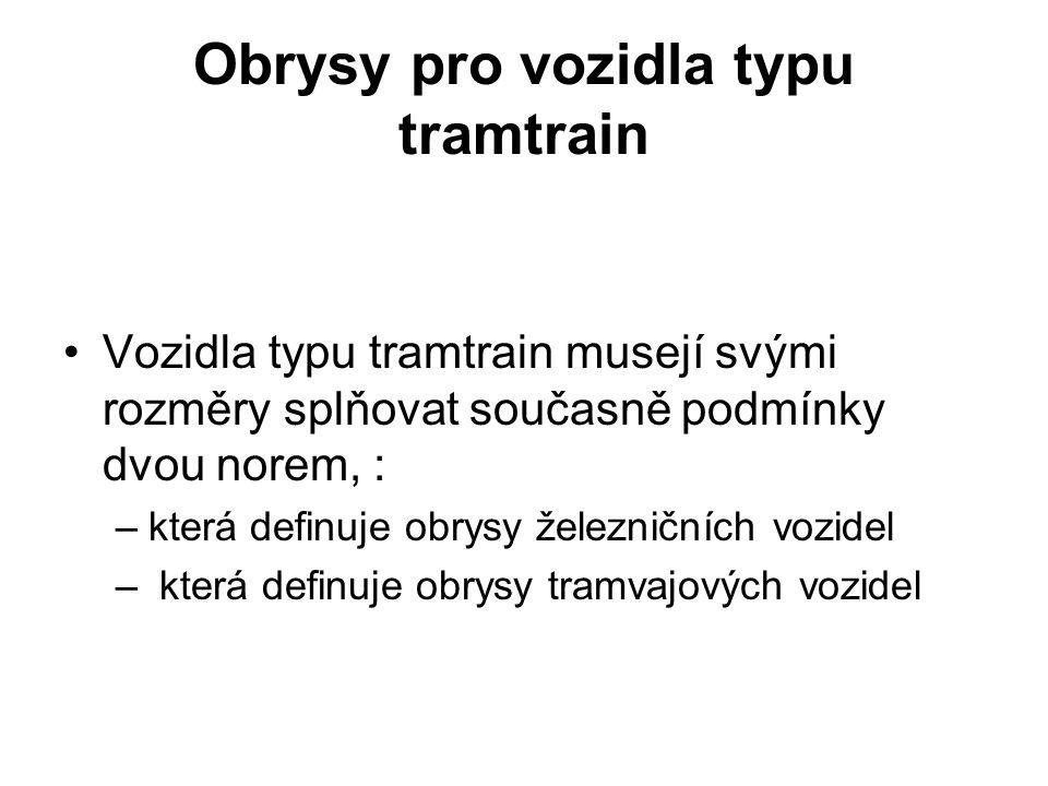 Obrysy pro vozidla typu tramtrain Vozidla typu tramtrain musejí svými rozměry splňovat současně podmínky dvou norem, : –která definuje obrysy železnič