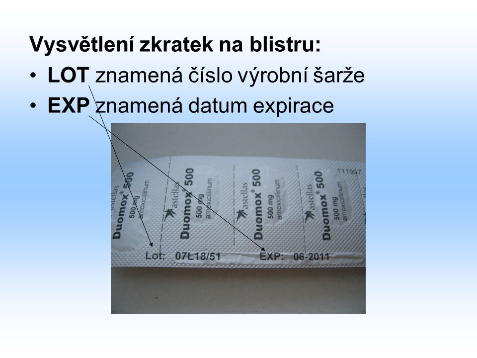 Vysvětlení zkratek na blistru: LOT znamená číslo výrobní šarže EXP znamená datum expirace